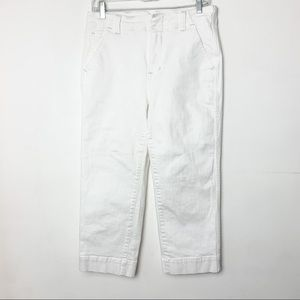 Free People Cropped High Rise Jeans White Size 28